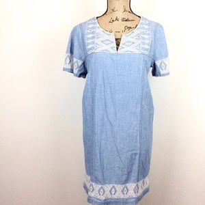 Madewell Chambray Embroidered Shift Dress M -N350